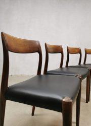 vintage Moller danish dining chairs Niels Otto moller model 77 eetkamerstoelen walnut Møllers møbelfabrik