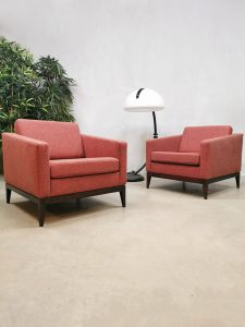 Midcentury design cubic armchairs lounge club chairs Theo Ruth Artifort