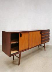 Midcentury sideboard dressoir wandkast 'Minimalist duo tone wood' vintage