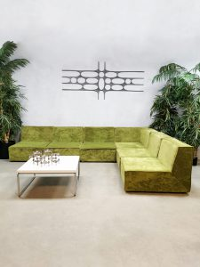 Vintage Cor modular sofa elementen bank Team form AG 'Lime green velvet'