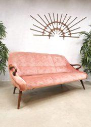 Vintage Danish design lounge set sofa armchairs pink velvet
