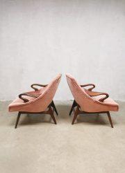 Midcentury Danish design lounge set sofa armchairs fauteuils 'Lovely pink velvet'