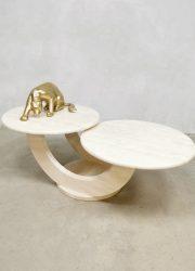 Midcentury Italian design travertin marble coffee table salontafel