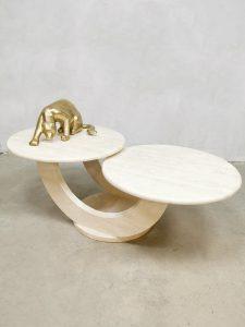 "Midcentury Italian design travertin marble coffee table salontafel ""duo table top"""