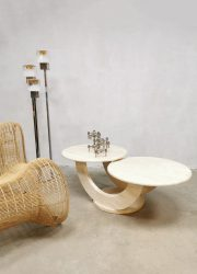 midcentury modern coffee table salontafel marble marmer travertin