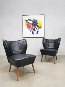 Midcentury cocktail chairs fauteuils expo stoelen 'mad men black'