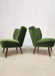 Vintage cocktail chair clubfauteuil cocktail stoel green velvet