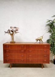 Midcentury vintage Danish design double chest of drawers teak ladenkast Deens