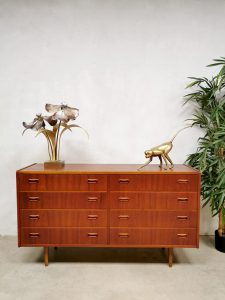 Midcentury vintage Danish design double chest of drawers teak ladenkast Deens