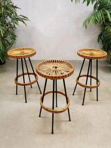 Midcentury vintage Dutch design rattan barstools rotan krukken Rohe Noordwolde