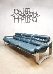 Midcentury vintage design 3-seater leather sofa bank Ilmari Lappalainen Asko style