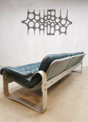 Asko stijl vintage sofa bank 3 zitter leather Ilmari Lappalainen