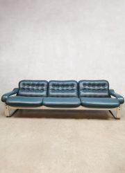 Midcentury 3-seater leather sofa bank Ilmari Lappalainen Asko style