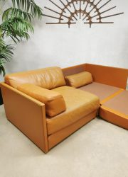 Vintage Swiss design leather modular 2 seater sofa daybed lounge bank DS-76 De Sede