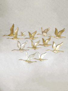 Vintage brass bird wall decoration messing vogel muurdecoratie 'Birds'