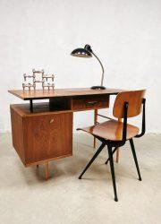 Vintage industrial writing desk bureau 'Dutch minimalism'