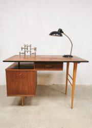 Dutch industrial vintage desk teak wood bureau 1960