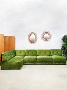 Midcentury modular sofa elementen bank 'Green velvet spirit'