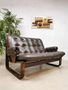Midcentury vintage design brown leather sofa bruine leren bank Coja