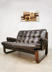 Midcentury vintage design brown leather sofa bruine leren bank Coja