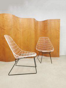 Vintage Dutch design wire chairs draadstoelen Cees Braakman Pastoe