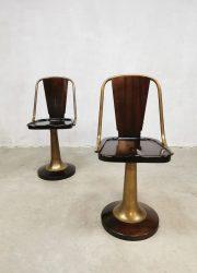 brass mahonie houten krukken nautical design art deco barstools krukken