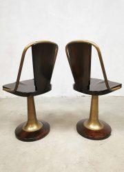 brass mahonie houten krukken nautical design art deco barstools krukken vintage retro