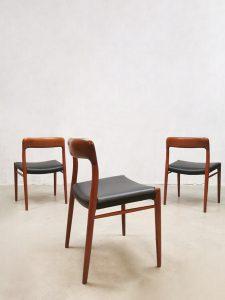 Midcentury design dining chairs eetkamerstoelen Niels Moller Møbelfabrik
