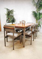 Vintage Dutch design 'Pali' dining set eetkamerstoelen Louis van Teefelen Webe
