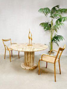 Midcentury Onyx marble dining table tafel Stone International 'Earth tones'