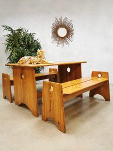 Midcentury Swedish pine wood dining set eetkamer set Gilbert Marklund Furunickarn AB
