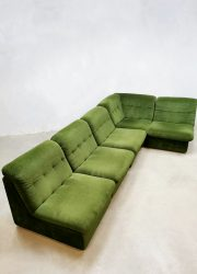 vintage midcentury design lounge sofa modular elements green velvet seventies