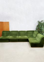 Vintage modular sofa elementen bank 'Green velvet Spirit' light weight