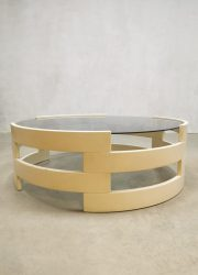 Vintage Space Age wooden coffeetable round salontafel
