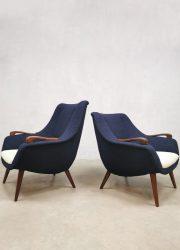 Vintage Dutch design easy chairs arm chairs lounge fauteuils 'duo tone boucle'