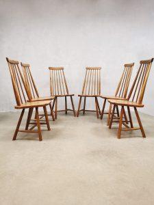 Vintage Dutch design spindle back dinner dining chairs spijlen stoelen Pastoe