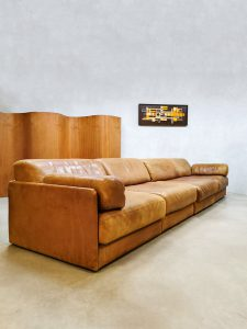 Midcentury Swiss design leather sofa daybed