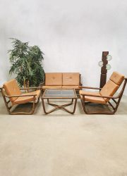 vintage retro lounge set bamboo bamboe rotan rattan lounge chairs sofa bank