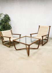 Vintage bamboo rattan lounge set sofa chairs & table 'Safari time'