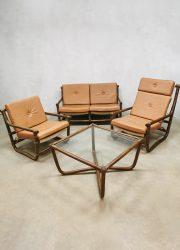 vintage retro lounge set bamboo bamboe rotan rattan lounge chairs sofa bank coffee table salontafel