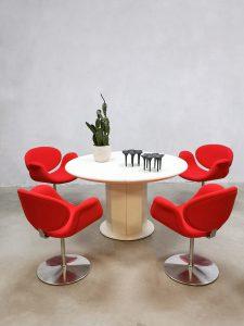 Vintage round extendable dining table eetkamer tafel Kondor & Artifort chairs