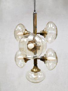 Vintage design brass pendant glass Sputnik chandelier