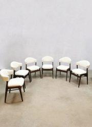 Midcentury vintage design boucle dining chairs eetkamer stoelen