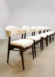 Midcentury vintage design boucle dining chairs eetkamer stoelen cowhorn koehoorn
