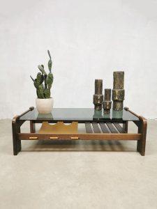 Vintage design coffee table leather magazine holder salontafel
