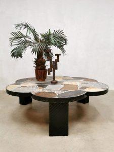 Vintage Dutch design brutalist slate stone coffee table stenen salontafel 'rocks'
