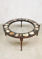 Vintage design stone coffee table agate salon tafel agaten stenen tafel