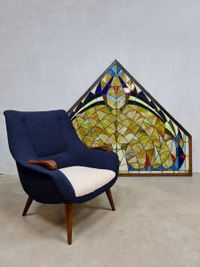 Midcentury stained glass church window glas in lood kerkraam 'Colourful pride'