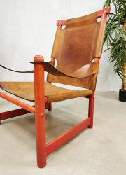 Vintage leather armchair safari chair lounge chair fauteuil 'Safari vibes'
