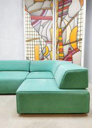 Vintage design modulair sofa turquoise velvet elementen bank Cor